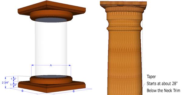 Round Wood Columns : Round wood columns tapered elite trimworks