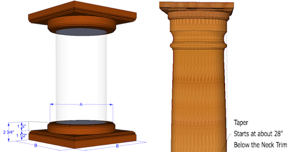 Round wood columns tapered columns elite trimworks for Tapered columns