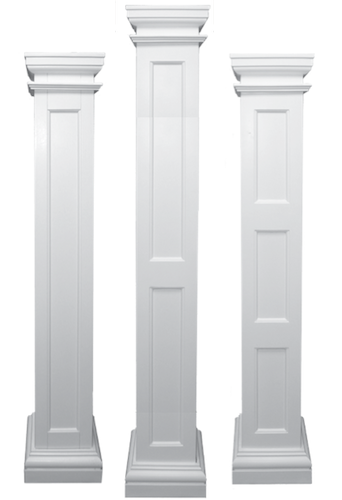 Square recessed paneled load bearing fiberglass columns for 10 fiberglass columns