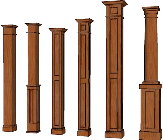 Square columns stain grade columns stainable columns for Interior post designs
